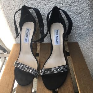 Steve Madden black heels ankle strap sandals.